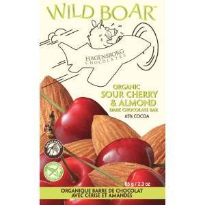 Wild Boar Chocolate Bar - Single Origin Organic Sour Cherry & Almond 65% cocoa