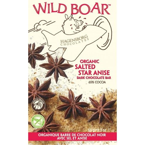 Wild Boar Chocolate Bar - Single Origin Organic Salted Star Anise 65% cocoa