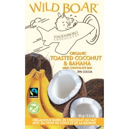Wild Boar Chocolate Bar - Fair Trade Certified Organic Toasted Coconut & Banana