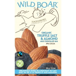 Wild Boar Chocolate Bar - Fair Trade Certified  and Organic Truffle Salt & Almond 39% cocoa